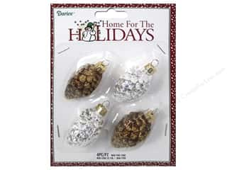 Glass Christmas: Darice Decor Holiday Ornament Mini Pine Cone 4pc