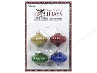 "Ornaments: Darice Decor Holiday Ornament Glitter Onion 1.25"" 4pc"
