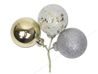 Ornaments Gold: Darice Decor Ornament Pick 40mm Mix Glitter Gold/Silver 3pc