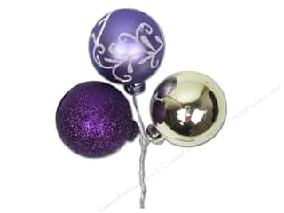 Ornaments Gold: Darice Decor Ornament Pick 40mm Leaf Purple Silver 3pc