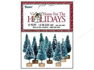 "Miniatures / Scene Miniatures: Darice Decor Holiday Sisal Christmas Tree 1.5"" Frost 12pc"