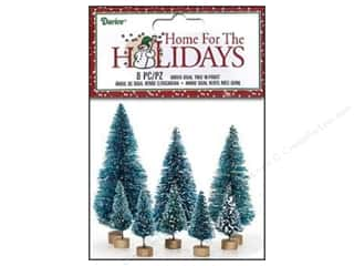 Miniatures / Scene Miniatures: Darice Sisal Tree Green with Frost 8 pc. Assorted