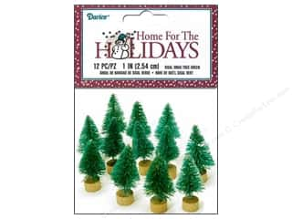 Miniatures / Scene Miniatures: Darice Sisal Tree 1 in. Green Christmas 12 pc.