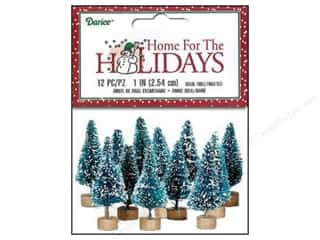 Miniatures / Scene Miniatures Tan: Darice Sisal Tree 1 in. Green with Frost 12 pc.