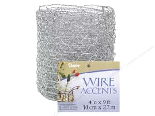 "Metal & Tin: Darice Wire Accent Chicken Wire Ribbon 4"" Silver Glitter 9ft"