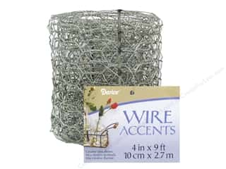 "Darice Wire Accent Chicken Wire Ribbon 4"" Galv 9ft"