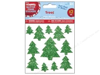 Darice Foamies Sticker Glitter Green Trees 12pc