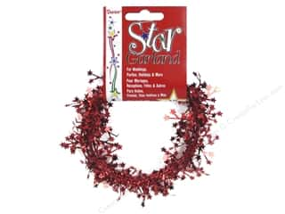 Darice Decor Garland Mini Star 9' Red