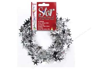Plastic Shapes: Darice Decor Garland Star 25' Silver