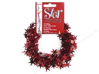 Party Supplies Metallic: Darice Decor Garland Star 25' Red