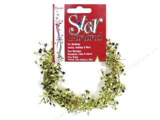 Party Supplies Metallic: Darice Decor Garland Mini Star 9' Gold