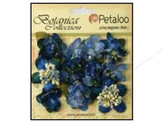 Hot off the Press Embellishment Flowers / Blossoms / Leaves: Petaloo Botanica Collection Sugared Minis Royal Blue