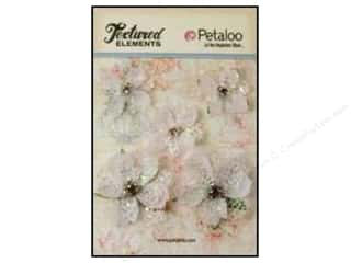 Petaloo $2 - $3: Petaloo Textured Elements Jeweled Flowers White