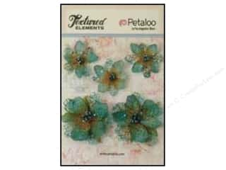 Petaloo Textured Elements Jeweled Flowers Teal