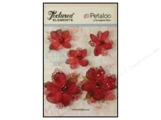 Petaloo $2 - $3: Petaloo Textured Elements Jeweled Flowers Red