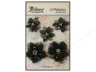 Petaloo Textured Elements Jeweled Flowers Black