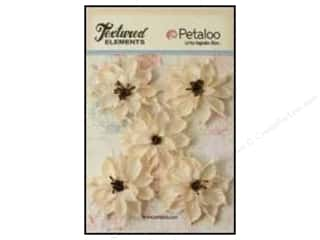 Flowers / Blossoms Brown: Petaloo Textured Elements Burlap Wild Sunflower Ivory