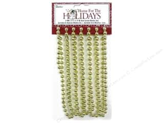 Ornaments: Darice Decor Holiday Garland Bead 8mm Metallic Gold 9ft