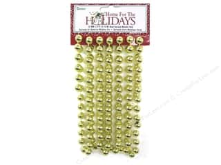 Ornaments Gold: Darice Decor Holiday Garland Bead 12mm Metallic Gold 9ft