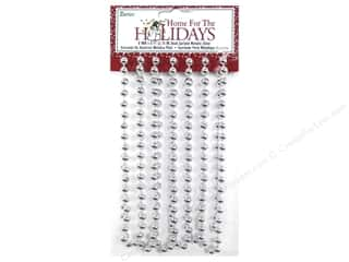 Ornaments: Darice Decor Holiday Garland Bead 8mm Metallic Silver 9ft
