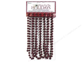 Christmas Burgundy: Darice Decor Holiday Garland Bead 8mm Matte Burgundy 9ft