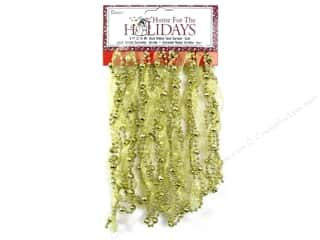 Ornaments: Darice Decor Holiday Garland Bead Ribbon Twist Gold 9ft