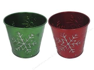 "Darice Decor Pot Tin Snowflake Round 4.5"" Astd"