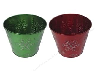 "Darice Decor Pot Tin Snowflake Round 7.25"" Astd"