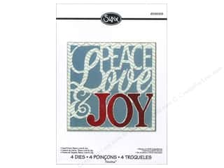 Dies Christmas: Sizzix Dies Rachael Bright Thinlits Winter Card Front Peace Love & Joy
