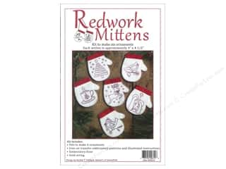 Projects & Kits Clearance Crafts: Rachel's Of Greenfield Kit Redwork Mittens