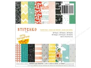 American Crafts 6 x 6 in. Paper Pad Amy Tangerine Stitched