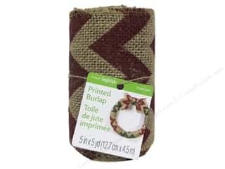 "Ribbons Sale: FloraCraft Ribbon Burlap 5""x 5yd Chevron Red"