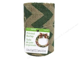"Ribbons Sale: FloraCraft Ribbon Burlap 5""x 5yd Chevron Green"
