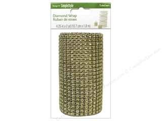 "Floracraft Christmas: FloraCraft Ribbon Diamond Wrap 4.25""x 6ft Gold"