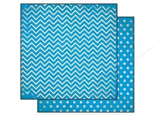 Bo Bunny 12 x 12 in. Paper Double Dot Chevron Brilliant Blue (25 piece)