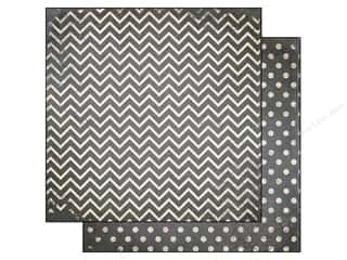 Bo Bunny 12 x 12 in. Paper Double Dot Chevron Charcoal (25 piece)