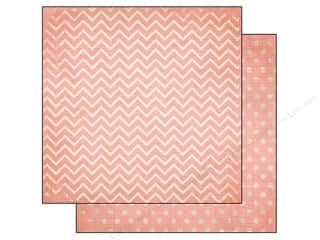 Bo Bunny 12 x 12 in. Paper Double Dot Chevron Coral (25 piece)