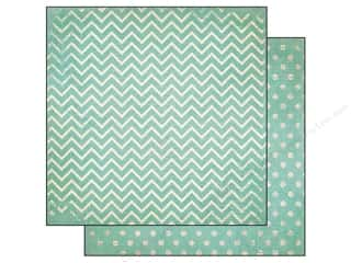 Bo Bunny 12 x 12 in. Paper Double Dot Chevron Island Mist (25 piece)