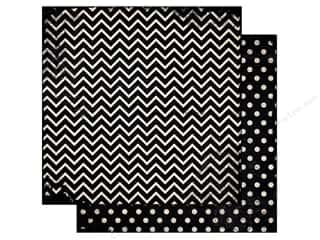Bo Bunny 12 x 12 in. Paper Double Dot Chevron Licorice (25 piece)