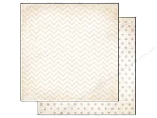 Sugar and Cream Printed Cardstock: Bo Bunny 12 x 12 in. Paper Double Dot Chevron Sugar (25 pieces)