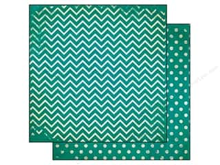 Bo Bunny 12 x 12 in. Paper Double Dot Chevron Turquoise (25 piece)
