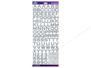 EK Sticko Alphabet Stickers Copperplate Glitter Silver