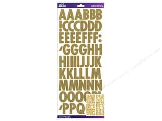 Glitter ABC & 123: EK Sticko Alphabet Stickers Futura Glitter Gold