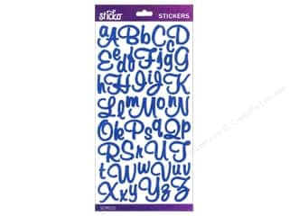 EK Success ABC & 123: EK Sticko Alphabet Stickers Mural Script Small Glitter Blue