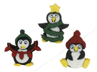 Jesse James Buttons Burgundy: Jesse James Embellishments Holiday Penguins