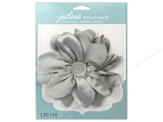 EK Jolee's Boutique Le Fleur Flower Large With Gem Grey Satin