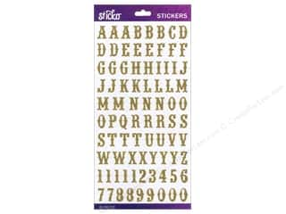 EK Sticko Alphabet Stickers Carnival Glitter Small Gold
