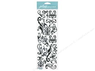 Glitter Black: Jolee's Boutique Stickers Large Swirls Glitter Black
