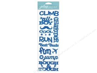 Glitter Blue: Jolee's Boutique Stickers Silhouette Word Boy Glitter Blue