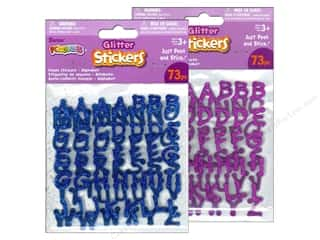 Glitter Blue: Darice Foamies Sticker Alpha Glitter Blue/Purple Assorted 73pc